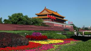 Flowers in bloom during Golden Week in Tiananment Square in Beijing.