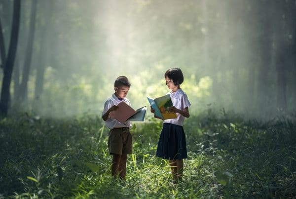 Students reading story books