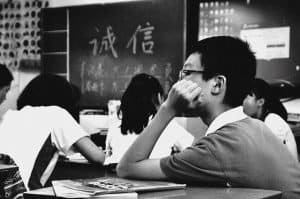 Asian student in class