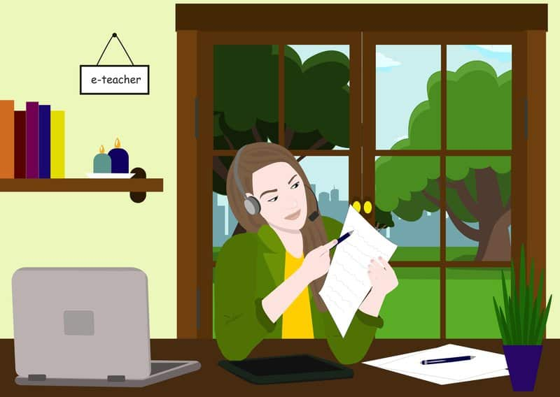 Online Education. Online Information Technology Concept Illustration. E Teacher Shows Homework On Paper Via Web Camera.